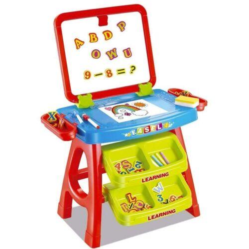 Set Lavagna Con Piano Disegno e Cavalletto Rosso Con Accessori Numeri e Lettere