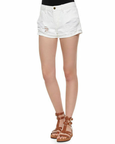Frame Le Grand Garcon Distressed White Ripped Denim Shorts 31