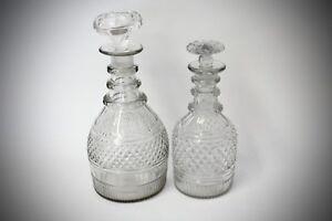 2-x-Karaffe-Bleikristall-klein-und-gross-schwere-Ausfuehrung-Gebrauchsspuren