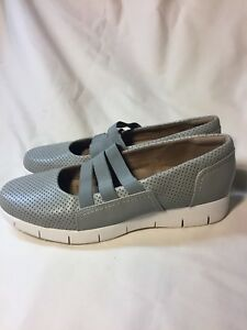 598fda813270 Clarks Artisan Women s Grey Perforated Leather Comfort Slip On Shoes ...