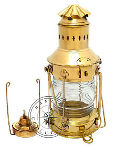 Vintage-Brass-Oil-Lamp-Maritime-Ship-Lantern-15-034-Boat-Light-Nautical-Anchor-Lamp