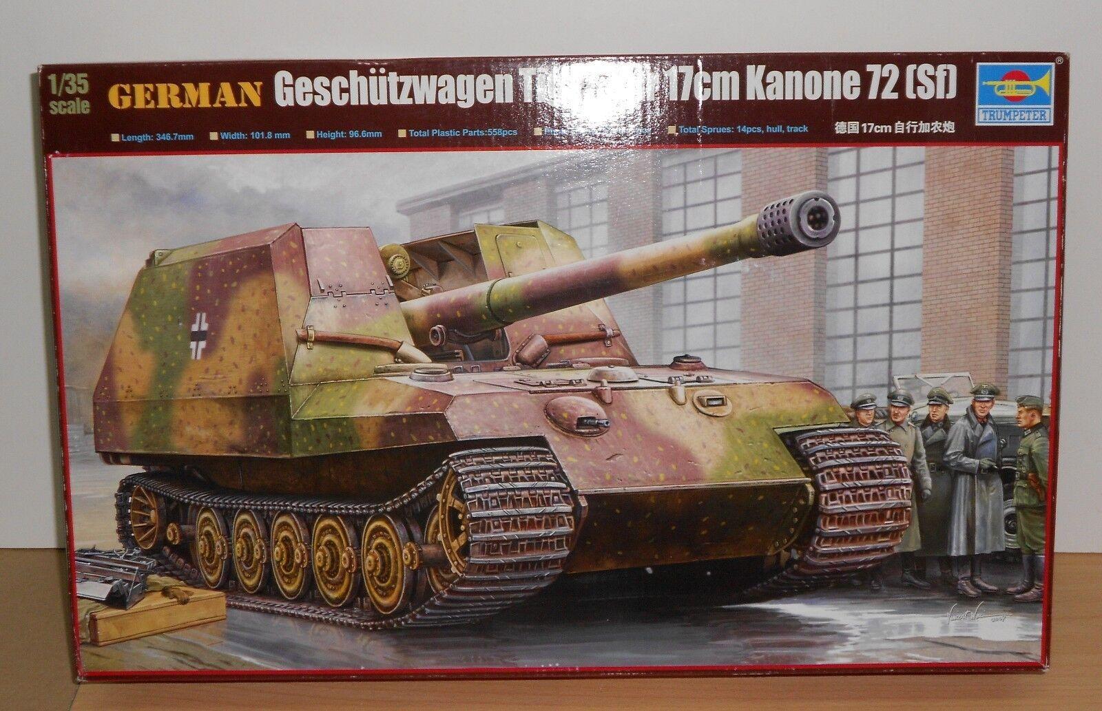 TRUMPETER German Geschutzwagen Tiger 17cm K72 Tank Plastic Kit 1 35 NEW