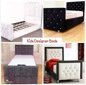 Kids Designer Beds Diamante Bed Frames Single 2ft6 3ft Uk Made