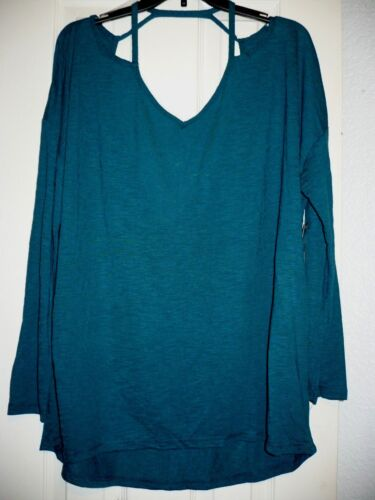 Xersion Women/'s Shirt W Cut Out Back Detail Size Small Deepest Teal 3//4 Sleeve