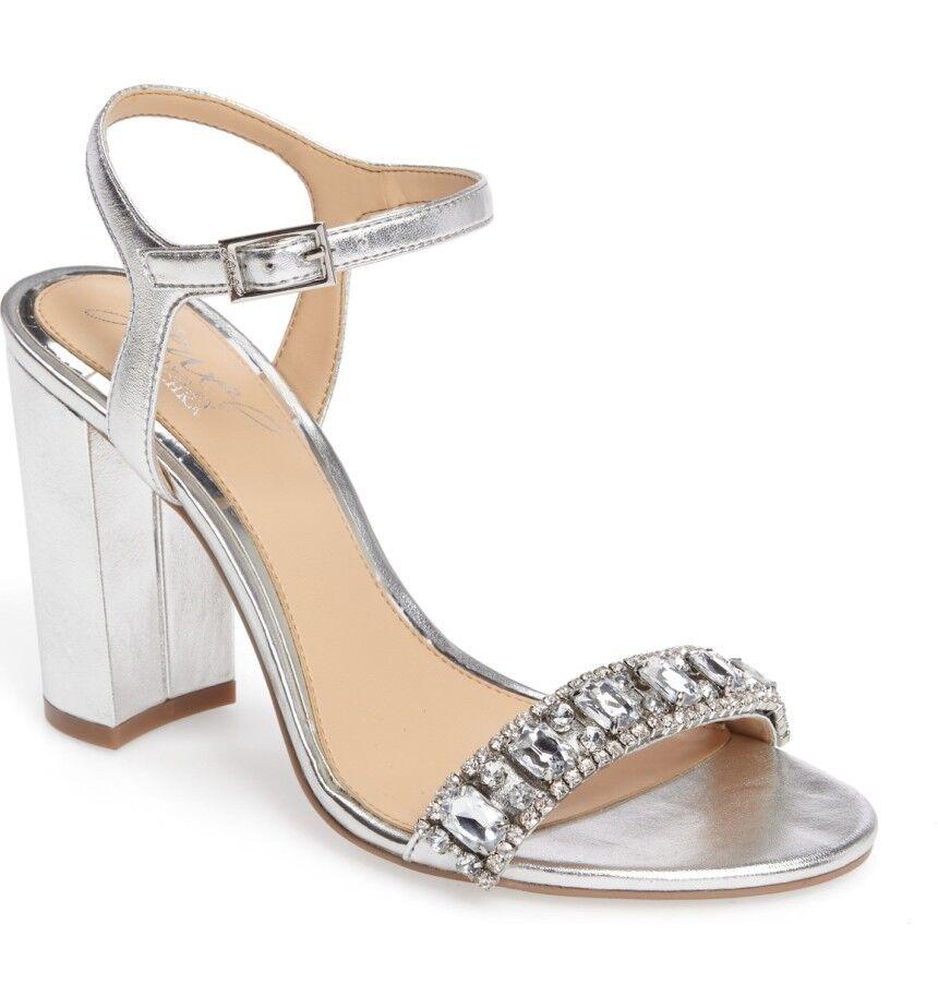 Jewel Badgley Mischka Hendricks Block-Heel Evening Sandals Size 9.5 Silver