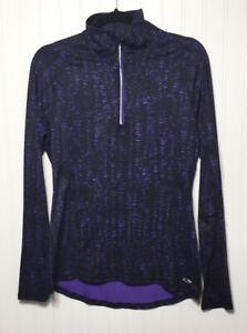 C9-CHAMPION-Womens-S-P-Duodry-1-4-Zip-Running-Top-Thumbholes-Purple-Black-Print