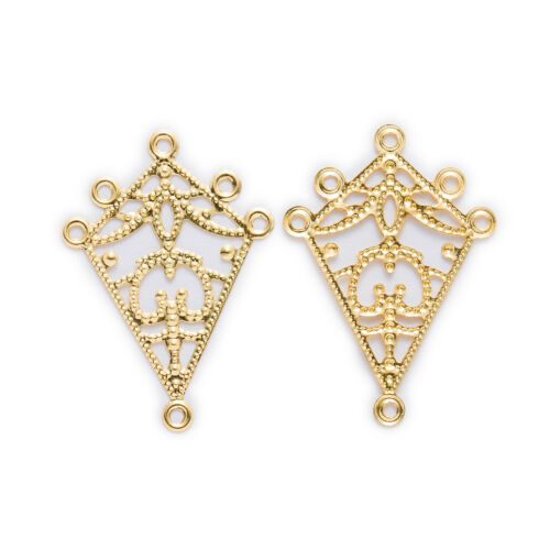 10Pcs 3 Color Hollow Filigree Rhombus Connnector Embellishments Findings 38x27mm