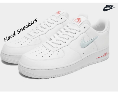 NIKE Air Force 1 Essential 'Jewel' White Red Grey Men's 7 11 TRAINER | eBay
