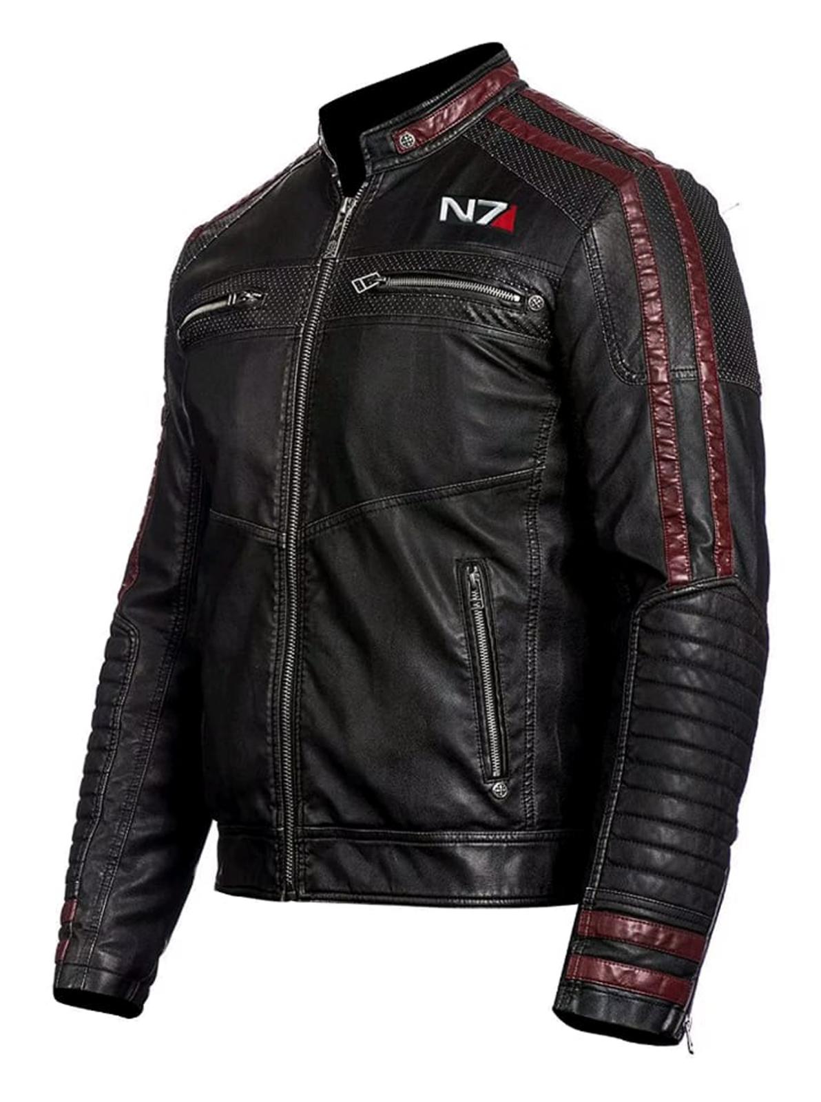 NOVA Cafe Racer Mass Effect N7 Original Leder Motorrad Jacket Jacket Jacket 15c