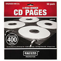 Vaultz Two-sided Cd Refill Pages For Three-ring Binder 50/pack Vz01415 on Sale
