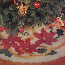 WonderArt Latch Hook Tree Skirt Kit Christmas Poinsettia And Ribbons 33 Round
