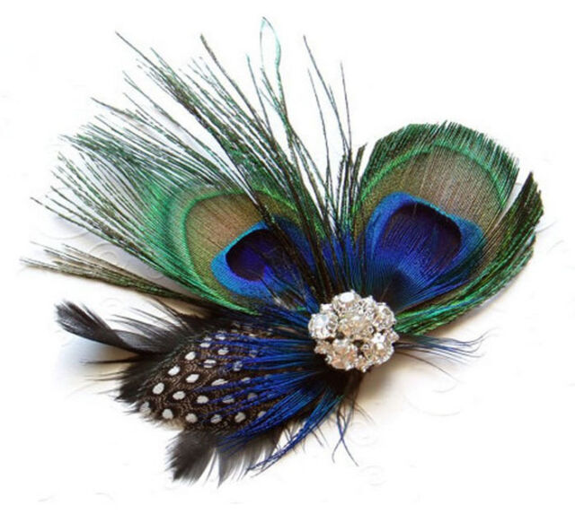 Peacock Feather Sparkling Rhinestones Bridal Wedding Hair Clip Head Excellent