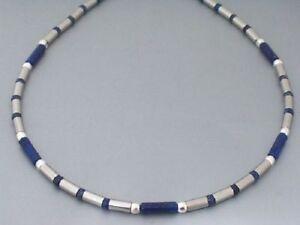 Neu-Edelstahl-Kette-Collier-Halskette-Lapislazuli-Lapiz-Damen-Herren-blau-Silber