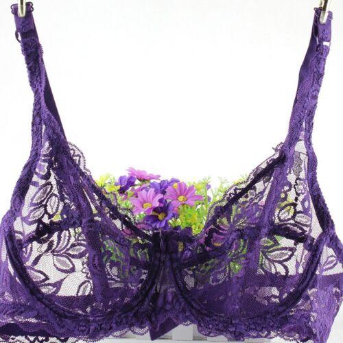 Full Cup Lace Bra Soft Mesh Underwired Brassiere Women Perspective Underwear