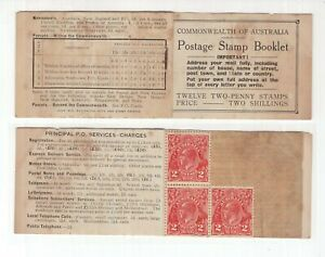 Australia-1934-KGV-2-Postage-Stamp-Booklet-3-stamps-remain-sg-26b