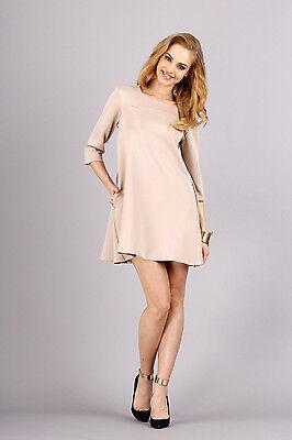 Elegant Shift Dress With Pockets 3/4 Sleeve Crew Neck Tunic Size 8-14 FA254