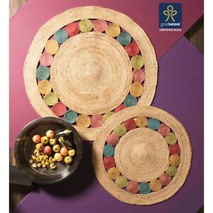 Fair-Trade-90cm-120cm-Round-Colour-Circles-Beige-Jute-Cotton-Braided-Rug-Lounge