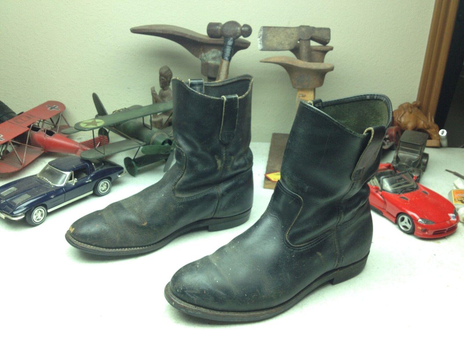 Hecho en EE. UU. con aspecto envejecido 1986 Negro Cuero Rojo Ala botas de trabajo 11 EEE