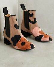 ANTHROPOLOGIE MALIPARMI FLOWERING SUEDE ANKLE BOOTS APPLIQUÉ PINK TAUPE 39 $525