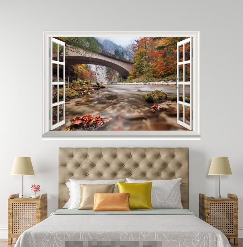 3D Bridge Waterfall 084 Open Windows WallPaper Murals Wall Print AJ Carly