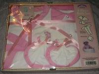 4 Pc Gift Baby Bath Set Robe Embroidered Lamb Pink Wash Cloths Sleeper Play