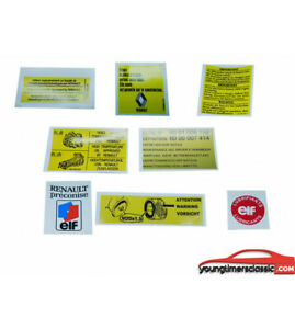 RENAULT-SUPER-5-GT-TURBO-kit-8-stickers-Moteur-autocollants