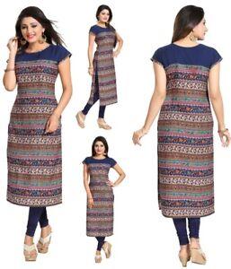 UK-New-Blue-Short-Sleeve-Women-Indian-Long-Kurti-Tunic-Kurta-Tops-Shirt-SC2425