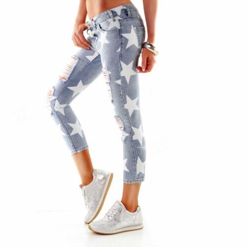 Damenjeans Jeans Damenhose Hüfthose Sterne Röhrenjeans Hüftjeans 34-42 #W2