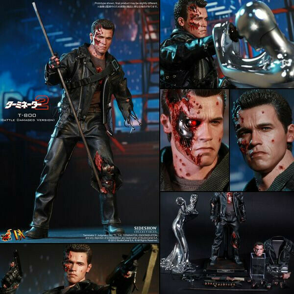 1 6 Hot Toys Terminator 2 DX 13 T-800 Battle Damage Version