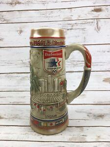 BUDWEISER-BEER-STEIN-Vintage-1984-L-A-Olympics-Tall-Mug-10-034-Anheuser-Busch