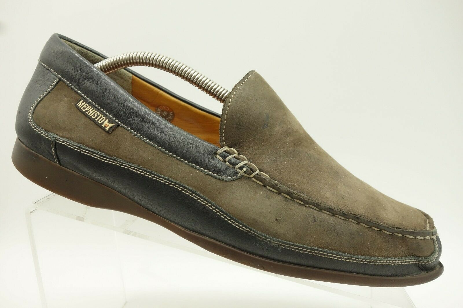 Mephisto Brown Leather Casual Comfort Moc Toe Slip On Loafer shoes Mens 10