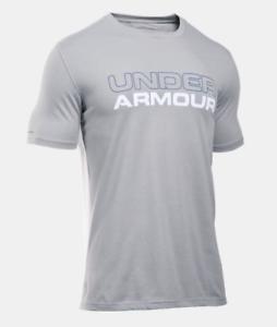 1265929-029 GREY wordmark SS Tshirt Under Armour