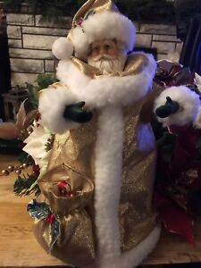 Details About Vintage White Gold Old Worldl Santa Claus Tree Topper Table Top Decor
