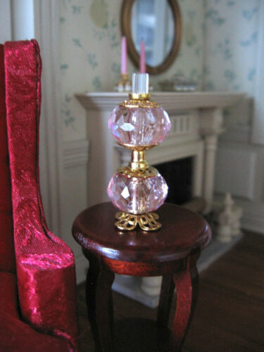 dollhouse doll house miniature ELECTRIC VICTORIAN TABLE LAMP DOUBLE GLOBE PINK