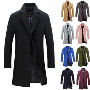 EJZO Men Fleece Warm Trench Coat Thick Jacket Peacoat Long Casual Overcoats Outwear