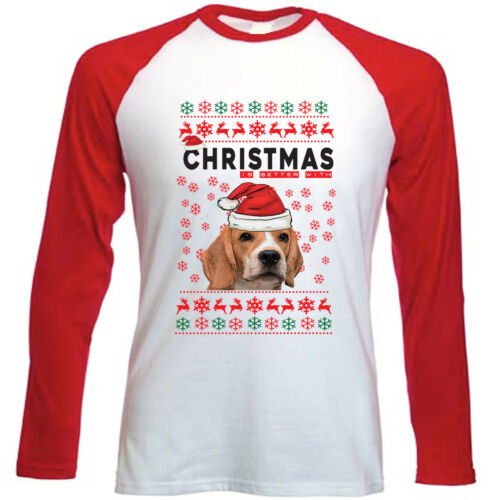 NEW RED SLEEVED TSHIRT BEAGLE CHRISTMAS BETTER WITH BEAGLE