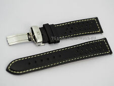 Alpha genuine leather watch strap, band 20mm black perforated deployment clasp