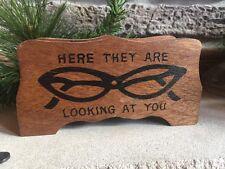 Vintage Wood Glasses Holder Cat Eyes Eye Frames Taiwan Rockabilly