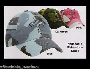 Pink-Blue-GREEN-Camouflage-Camo-BALL-CAP-Crystal-Cross-Woman-Girl-81