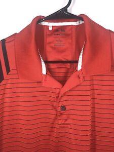 Adidas-Golf-Striped-Polo-Shirt-Short-Sleeve-Climacool-dark-orange-mens-large
