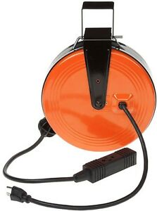 Extension Cord Reel Retractable 3 Outlet 30 Foot With Mounting Brackets Garage