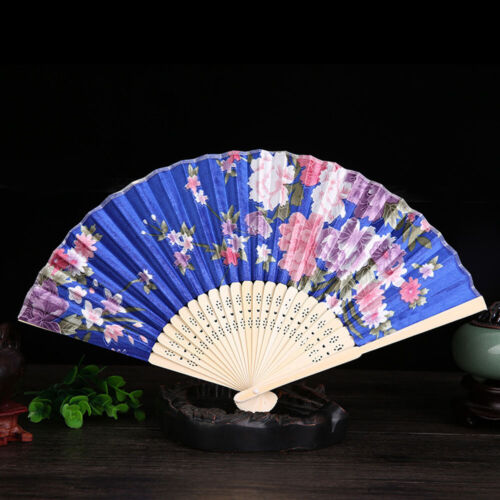Vintage Bamboo Folding Flower Fan Silk Cloth Chinese Folding Fans Gift Acces