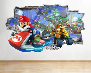 H077-Super-Mario-Kart-Bros-Smashed-Peg-pegatina-pared-vinilo-3d-habitacion-ninos