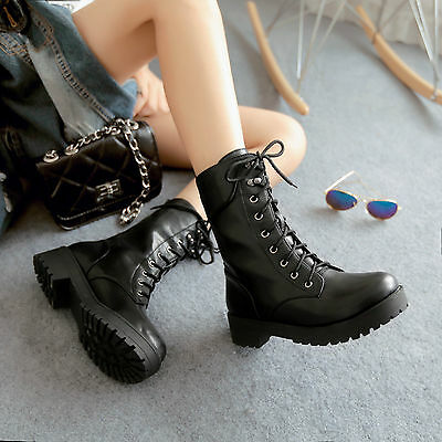 2014 NEW Women's Flat Ankle Boots Lace up Punk Goth Riding Military Boots