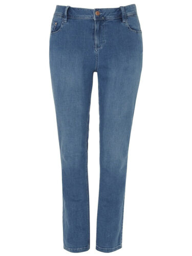 New Women Ex Evans Denim MidWash Blue Jeans Straight Leg Trouser Plus Size 16-28