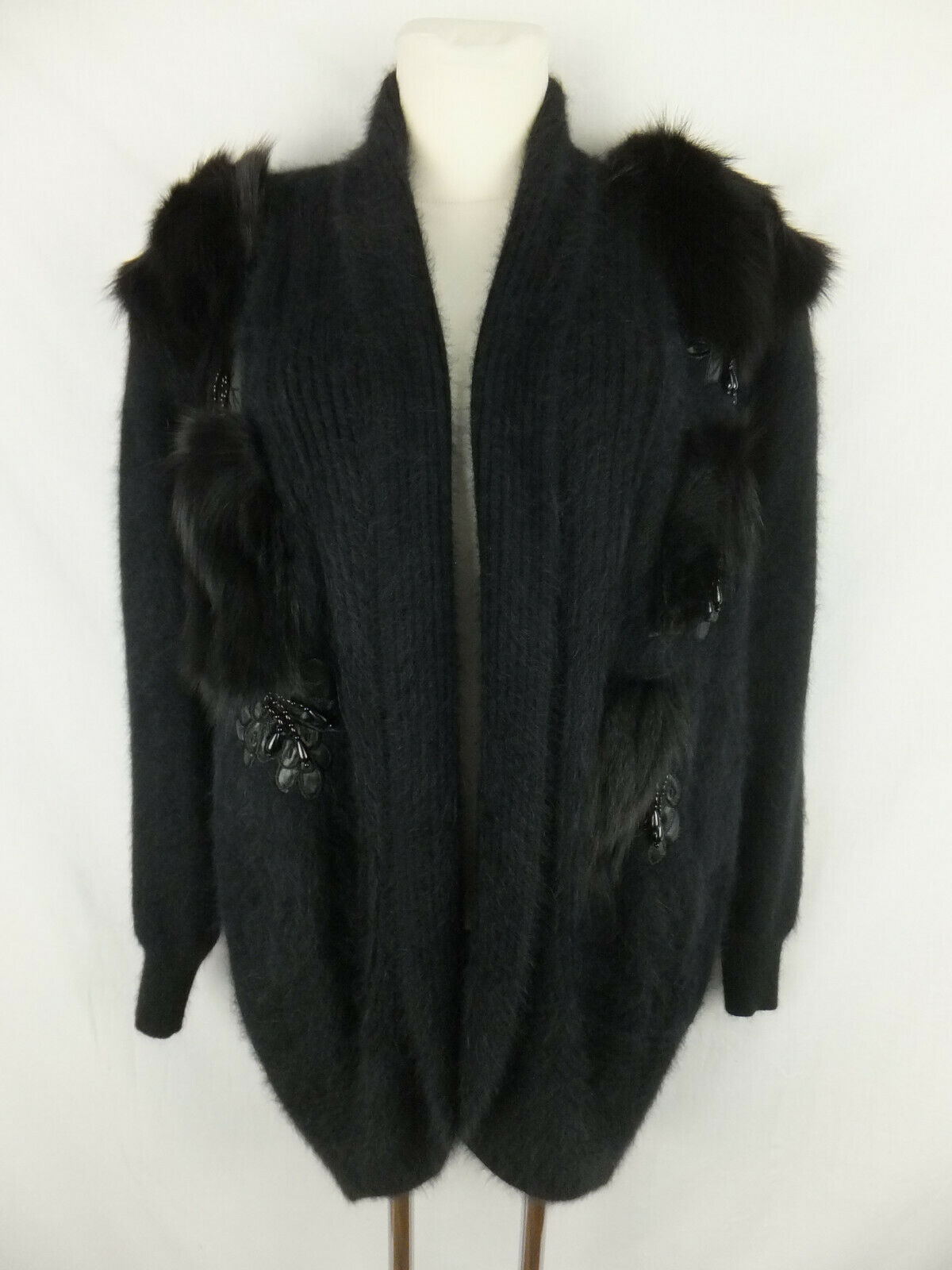 Upper Class Vintage Cardigan M. Angora and Wool 42/44 Black echpelz Stocking-show original title