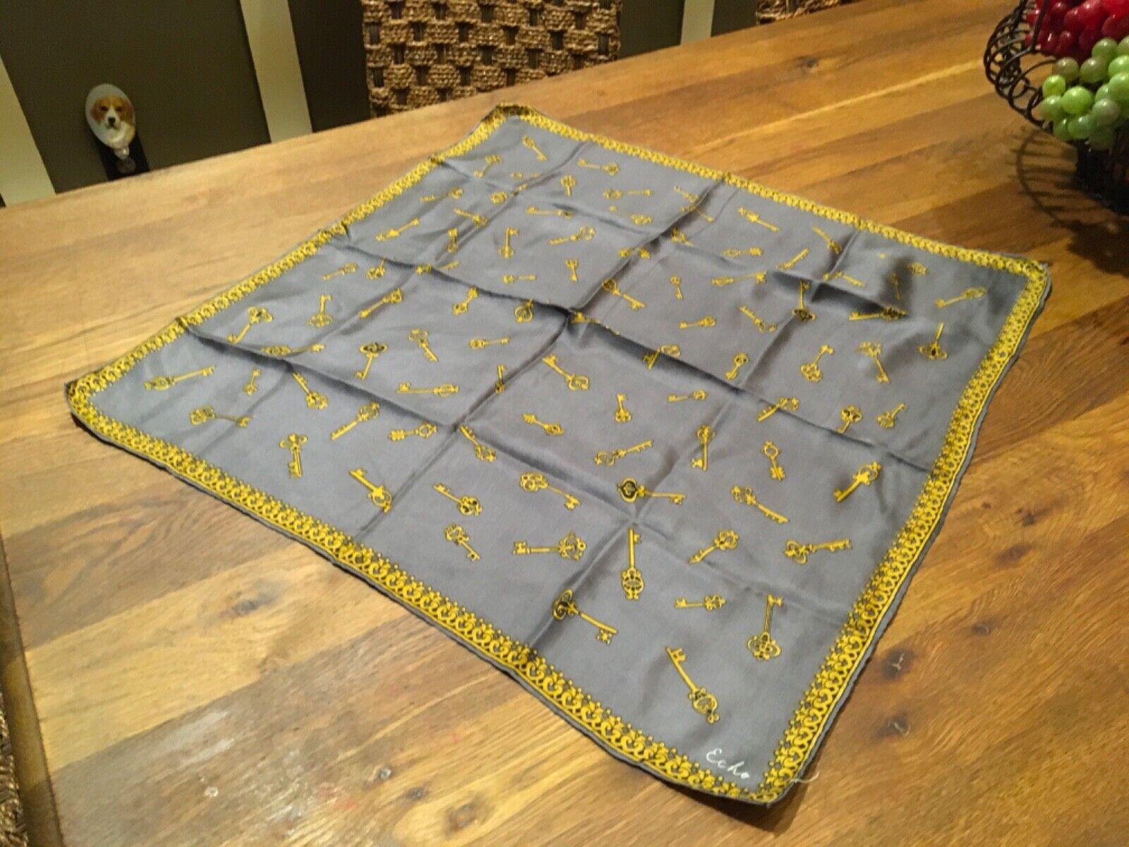 Vintage Signed ECHO Silk Scarf - Gray w Yellow Key Pattern - MINT!
