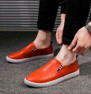 Men-039-s-Slip-On-Loafers-Leather-Casual-Boat-Shoes-Flats-Sneakers-Driving-Moccasin