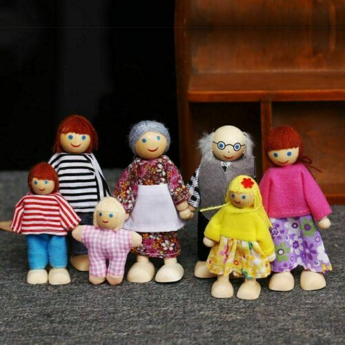 7 People Set Doll Wooden Furniture Dolls House Family Miniature Kids Toy Gift UK
