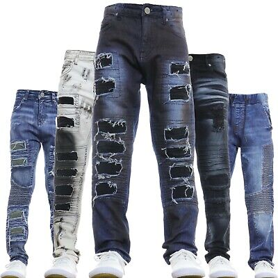 Boys Jeans Kids Stretch Slim Designer Stylish Fashion Denim Ripped Faded  New | eBay